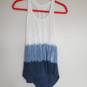 Racer back white and blue tank top.